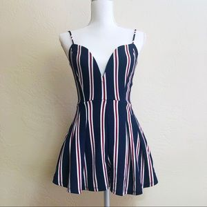 Windsor Dark Blue Striped Romper